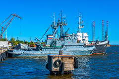 Boat docked in a harbour Royalty Free Stock Photo