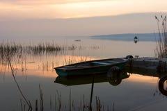 The boat docked on the lake Balaton Stock Images