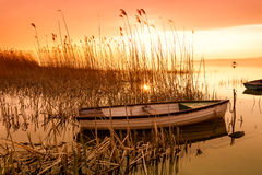 The boat docked on the lake Balaton Stock Photo