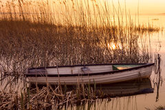 The boat docked on the lake Balaton Stock Photos
