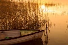 The boat docked on the lake Balaton Royalty Free Stock Photo