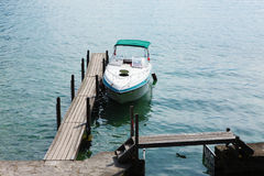Boat docked at the pier,Montreux Stock Photo
