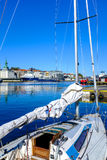 Boat docked in a port Royalty Free Stock Photo