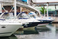 Boat docked in port of Toronto. Docked boat in port of Toronto Ontario Canada royalty free stock photography