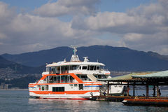 A boat docking at the jetty in Hiroshima, Japan Royalty Free Stock Photography