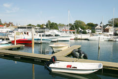 Boat Docks. A Boat dock in a small maine town Royalty Free Stock Photo