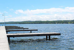 Boat docks on Canandaigua Lake Royalty Free Stock Photos