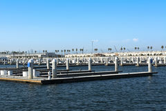 Boat docks. Empty boat docks in the Port of Los Angeles on a clear, sunny day royalty free stock image