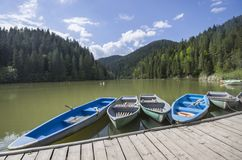 Boat docks on lake Stock Image