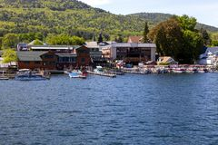Boat docks at Lake George Royalty Free Stock Photography