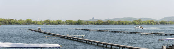 The boat docks and Su causeway Stock Photography