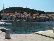 The boat docks. Trip to Croatia's Mediterranean Sea Stock Photo