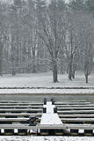 Boat docks during winter storm royalty free stock images