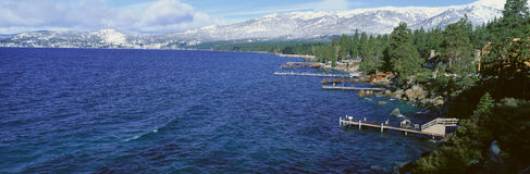 Boat Docks In Wintertime, Lake Tahoe, Nevada Royalty Free Stock Photography