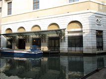 Boat at the doors of the Gran Teatro La Fenice Europe royalty free stock photography