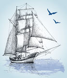 Boat drawing. Sailboat  sketch Royalty Free Stock Photography