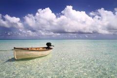 Boat drifiting in the Maldives Stock Photo