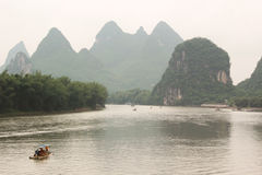 Boat Drift on Yulong river, Yangshuo, Guilin, China Royalty Free Stock Photo