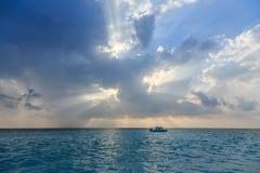 Boat drifting in Indian ocean Stock Image