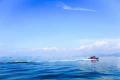 a boat driving on the sea Royalty Free Stock Photography