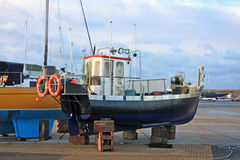 Boat in Dry Dock Royalty Free Stock Photos