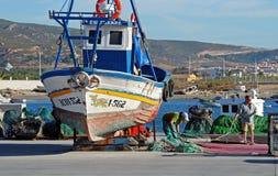 Boat in dry dock, Puerto de la Atunara. Royalty Free Stock Images