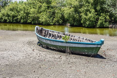 Boat on dry lake Royalty Free Stock Images