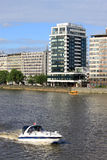 Boat and duck on River Thames in London, England. Stock Photos