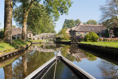 With boat in Dutch village Royalty Free Stock Image