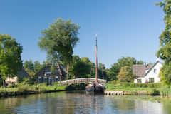 With boat in Dutch village Royalty Free Stock Photography