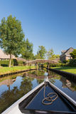 With boat in Dutch village Stock Photo
