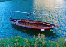 The boat in the early morning. On the Blue River Stock Photo