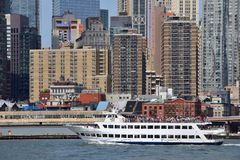 Boat in East River, New York City Royalty Free Stock Photography