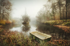 Boat on an Eerie Lake Royalty Free Stock Images