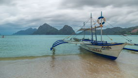 Boat in El Nido bay and Cadlao island. Palawan island, Philippines. 4K TimeLapse - August 2016, El Nido Palawan, Philippines stock video footage