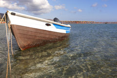 Boat at Elafonisi beach in Crete. Greece Stock Photography
