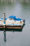 Boat at end of the dock. A single motor boat at the end of the dock Stock Images