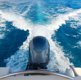 Boat engine. In motion at sea royalty free stock image