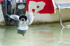 Boat engine with propeller details. Stock Image