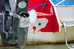 Boat engine with propeller details. Royalty Free Stock Image
