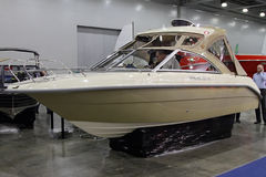 Boat Enigma 590 HT  in the exhibition Crocus Expo in Moscow. MOSCOW - MARCH 09, 2017:  Boat Enigma 590 HT for 10 International boat show in Moscow. Russia Royalty Free Stock Photos