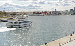 Boat entering harbour at Valencia, Spain Royalty Free Stock Photos