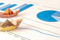 Boat Euro Money Origami Graph. Paper ship carrying money along the finance diagram Royalty Free Stock Photography