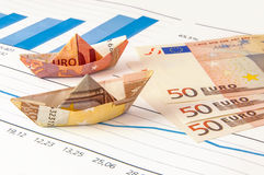 Boat Euro Money Origami Graph Stock Photo