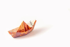 Boat Euro Money Origami Stock Images