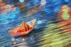 Boat Euro Money Origami Stock Photography