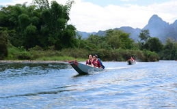 Boat excursion on Nam Song river. Vang Vieng. Laos Stock Image