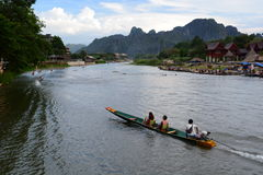 Boat excursion on Nam Song river. Vang Vieng. Laos Stock Photos