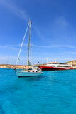 Boat and ferry at blue lagoon in Malta Stock Image