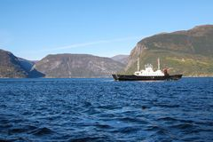 Boat or ferry in Sognefjord scenery, Norway, Scandinavia Stock Photography